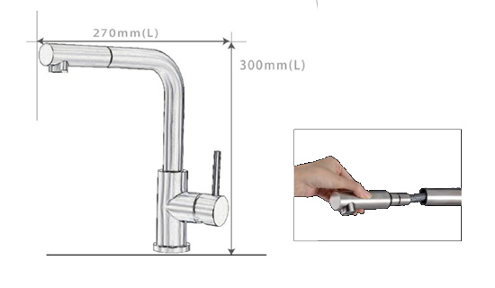10 Second Machine Model C With Pull Out L Shaped Kitchen Stainless Steel Faucet
